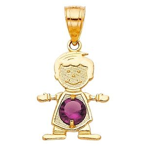 14kY Gold June Birthstone CZ Boy Pendant